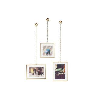 Jogo de Porta-Retrato Fotochain Fosco Dourado 3 Peças - Umbra