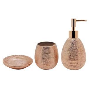 Jogo para banheiro 03 peças Lunar Bronze Mimo