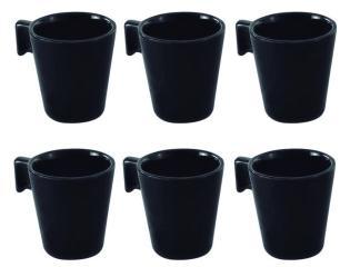 Jogo de Xicaras de Café Cerâmicas Black 6 Peças - Mimo