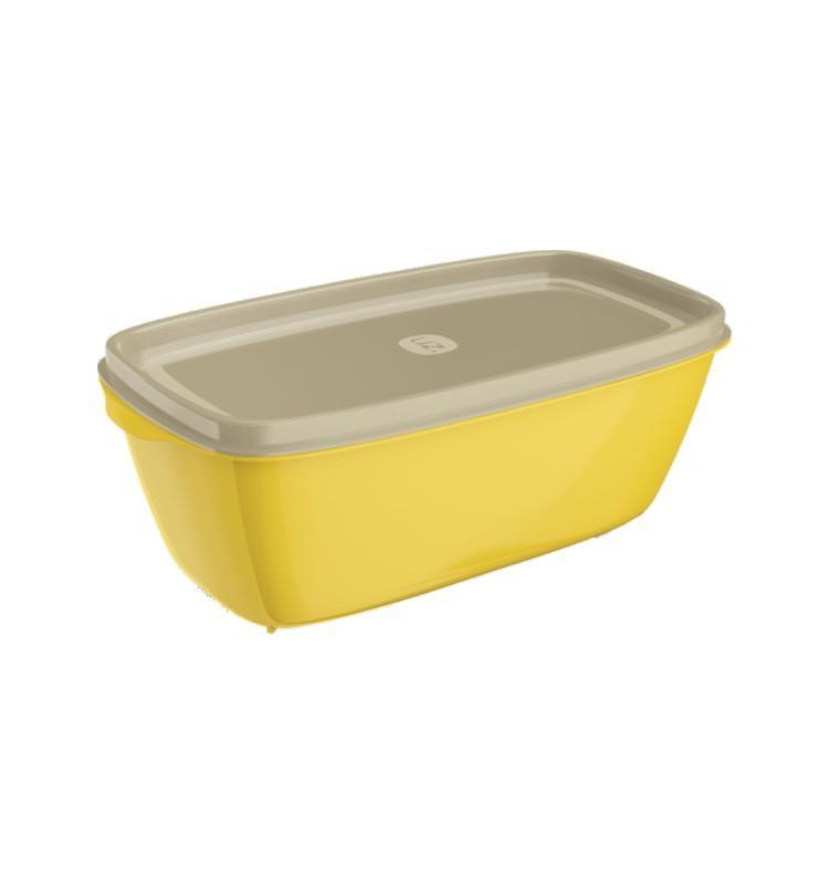 Pote Retangular 1,5L Amarelo de Plástico - Uz