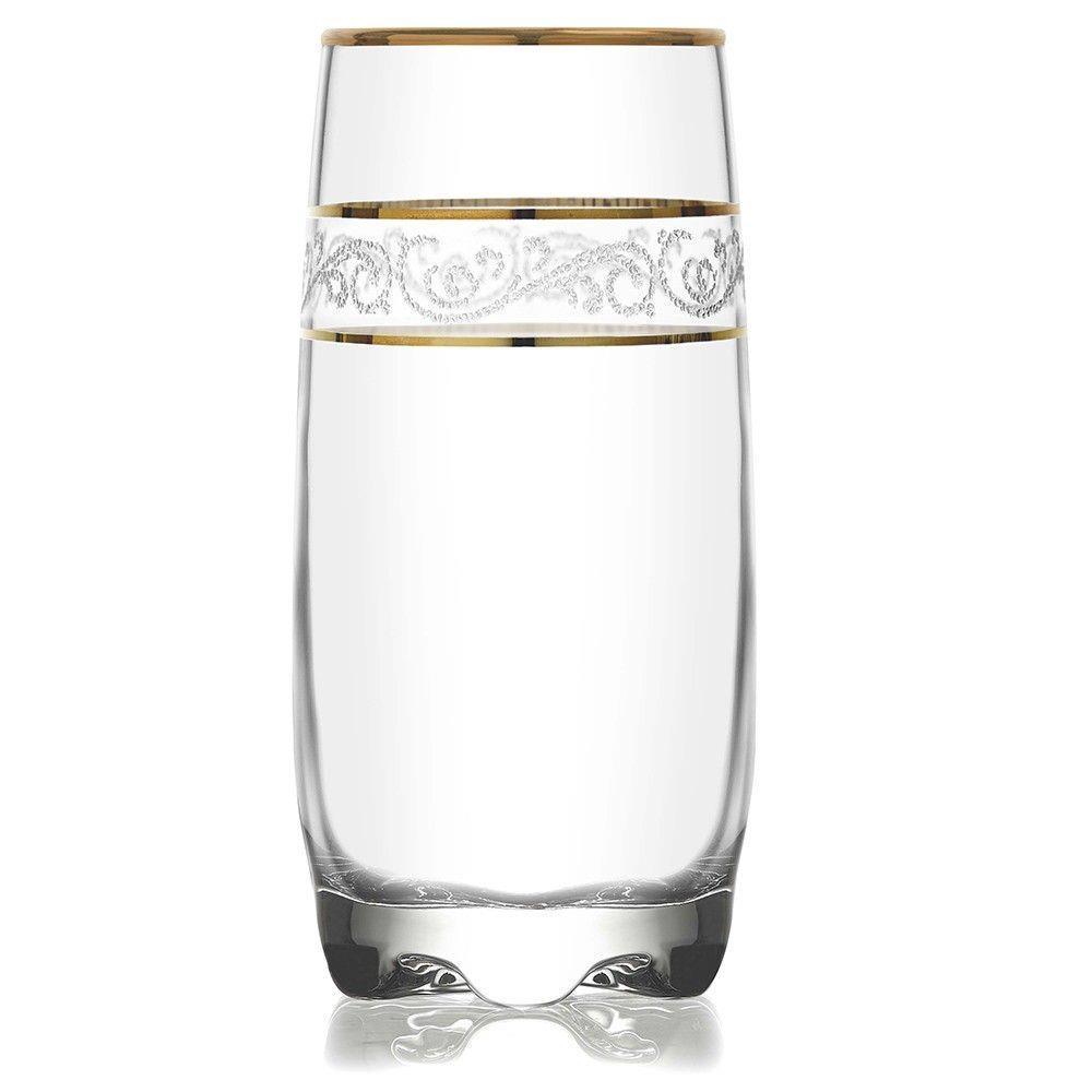 Jogo de Copos 6 Peças Detalhe Dourado Long Drink 390 Ml Mimo