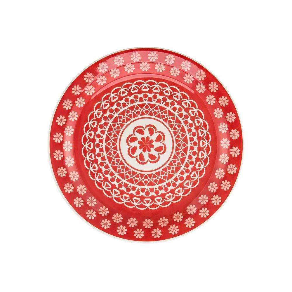Jogo com 6 Pratos Rasos de Mesa 26 cm Floreal Renda Vermelho - Oxford
