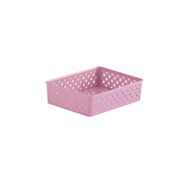 Cesto Organizador Rattan 34x25x6,5cm - Rosa