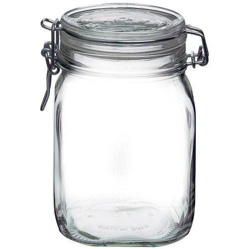 Pote Hermético Fido Bormioli Vidro Transparente 1 Litro