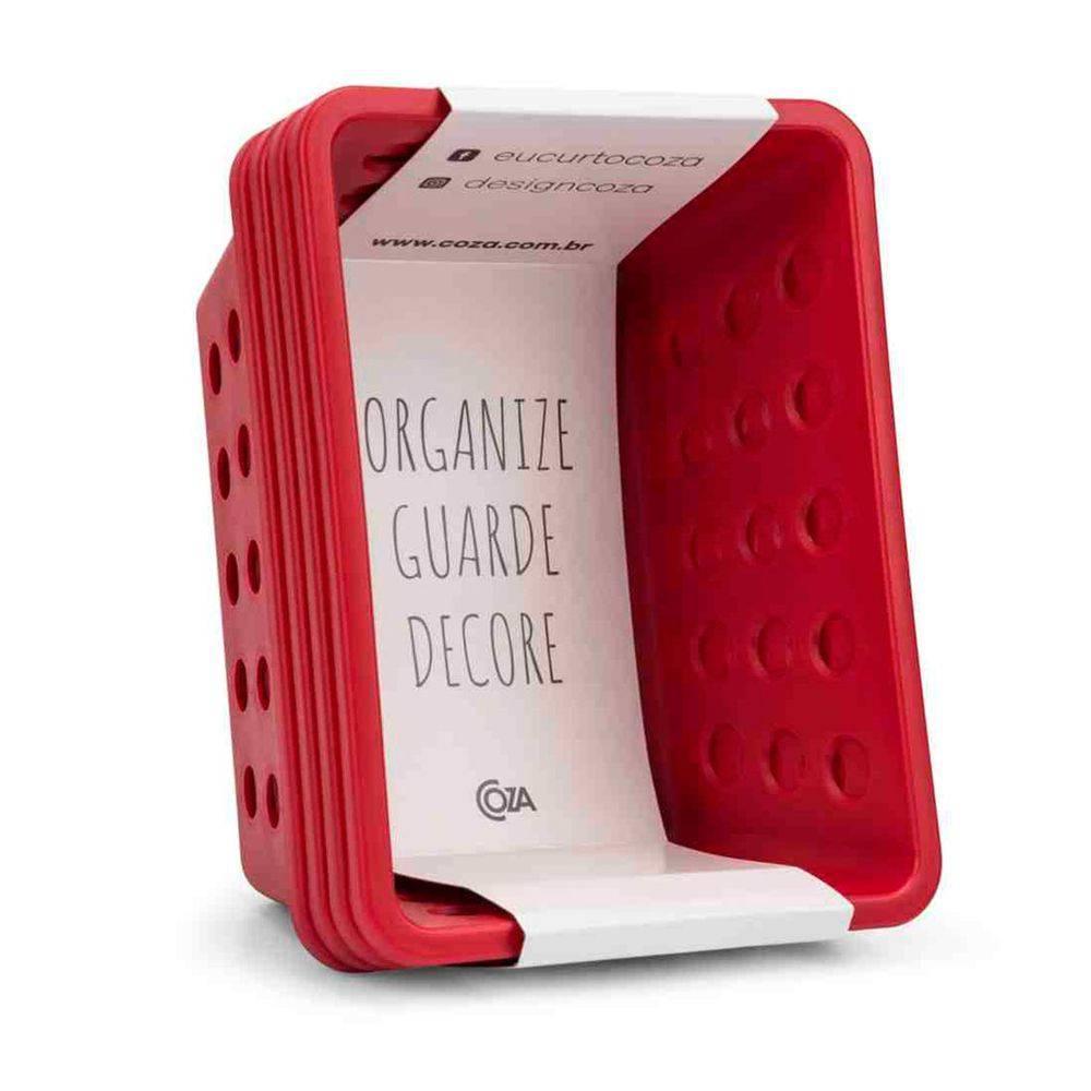 Kit de Cestas 18,6 x 14,2 x 8,2cm Vermelho Coza