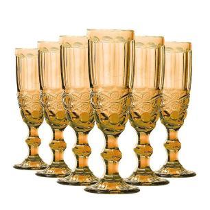 Jogo de 6 Taças de Champagne Elegance 140ml Amber - Class Home