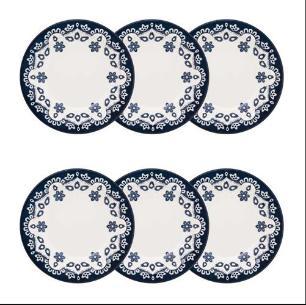 Jogo com 6 Pratos Fundos 23cm Floreal Azul Energy - Oxford