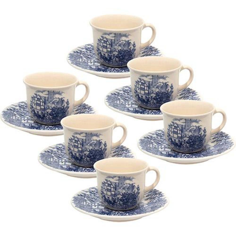 Jogo de Xícaras de Chá 12 Peças Cerâmica Biona Cena Inglesa - Oxford