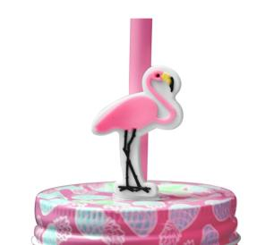 Copo de Vidro com Canudo Modelo Flamingo 540 ml - Vitrizi
