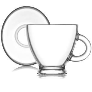 Jogo de Xícaras de Chá 12 Peças Vidro Roma - Mimo Style