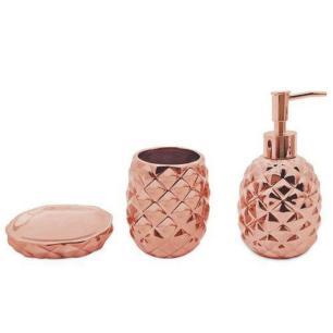 Conjunto Banheiro Abacaxi Saboneteira Cerâmica Bronze Mimo