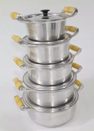 Jogo Caçarolas Alumínio Fundido Polido - Cinza