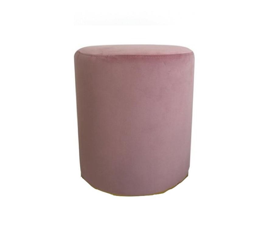 Banqueta Puff em Veludo Rosa com Base Preta - Enjoy