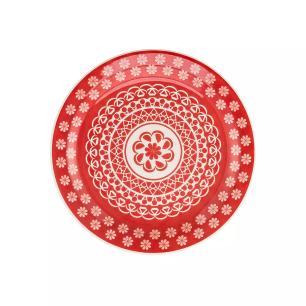 Prato Raso de Mesa 26 cm Floreal Renda Vermelho - Oxford