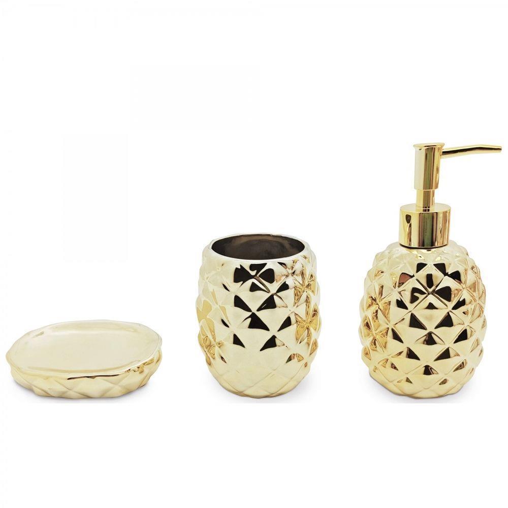 Conjunto Banheiro Abacaxi Saboneteira Cerâmica Dourado Mimo