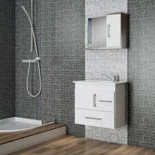 Gabinete De Banheiro 100% Mdf Fortaleza 65 cm Com Espelho - Branco - Mgm