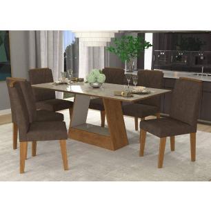Sala Jantar Alana 180cm x 90cm Com 6 Cadeiras Nicole Savana Off White/Cacau - Cimol