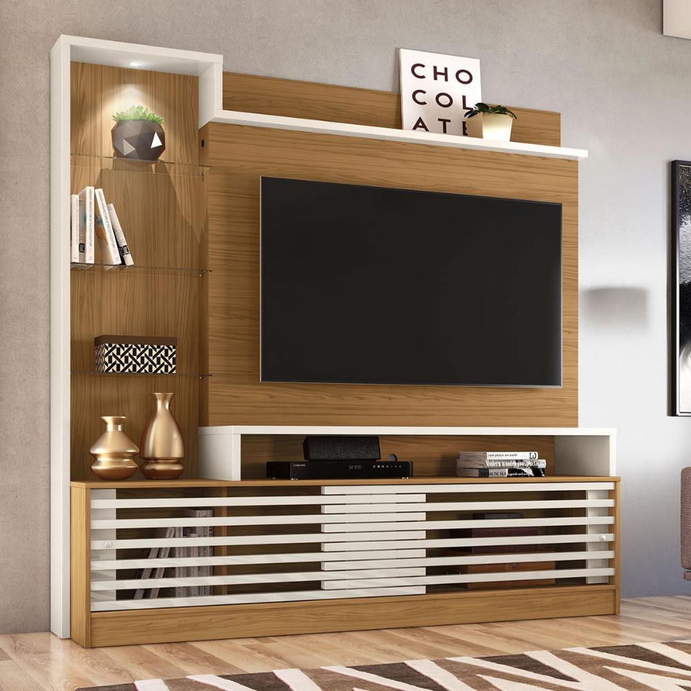 Estante Home Theater Frizz Prime - Naturale/Off White - Madetec
