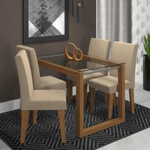 Sala Jantar Anita 120 Cm x 80 Cm Com 4 Cadeiras Milena Savana/Caramelo - Cimol