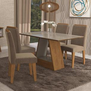 Sala Jantar Alana 130 Cm x 80 Cm Com 4 Cadeiras Milena C/Moldura Savana/Off White/Pluma - Cimol