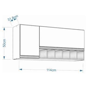 Armario De Cozinha Aereo 100% Mdf Prisma 114 Cm Amendoa/Branco - Mgm