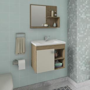 Gabinete De Banheiro 100% Mdf Lotus 55 Cm Com Espelho Carvalho/Off White - Mgm