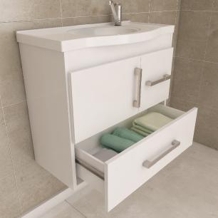Gabinete De Banheiro 100% Mdf Fortaleza 65 Cm Com Espelho Amendoa/Off White - Mgm