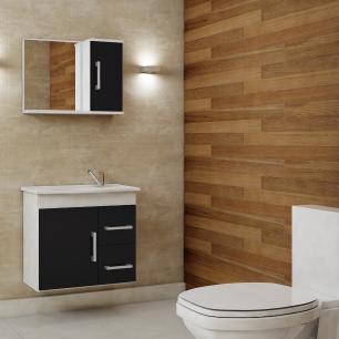 Gabinete De Banheiro 100% Mdf Vix 65 cm Com Espelho - Branco\Preto - Mgm