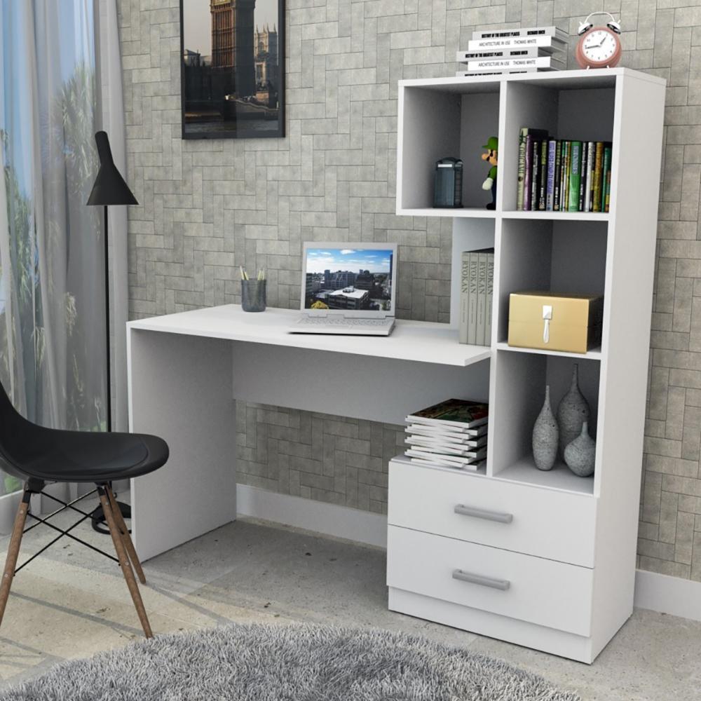 Escrivaninha Com Armário e 2 Gavetas - Branco - Appunto