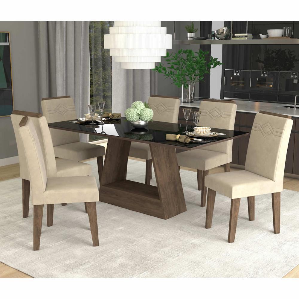 Sala Jantar Alana 180 Cm x 90 Cm Com 6 Cadeiras Tais C/Moldura Marrocos/Sued Bege - Cimol
