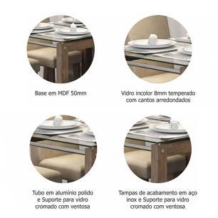 Sala Jantar Anita 120cm x 80cm  4 Cad. Milena Marrocos/Chocolate - Cimol