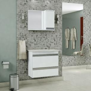 Gabinete De Banheiro 100% Mdf Grecia 65 cm Com Espelho - Branco - Mgm