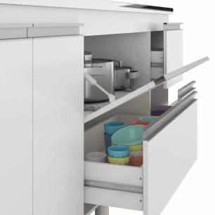 Balcao De Cozinha 100% Mdf Prisma Para Pia 114 Cm Amendoa/Branco - Mgm