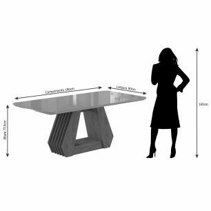 Sala Jantar Agata 180 Cm x 90 Cm Com 6 Cadeiras Nicole Savana/Off White/Rose - Cimol