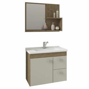 Gabinete De Banheiro 100% Mdf Hortencia 55 Cm Com Espelho Carvalho/Off White - Mgm