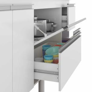 Balcao De Cozinha 100% Mdf Prisma Para Pia 144 Cm Amendoa/Off White - Mgm
