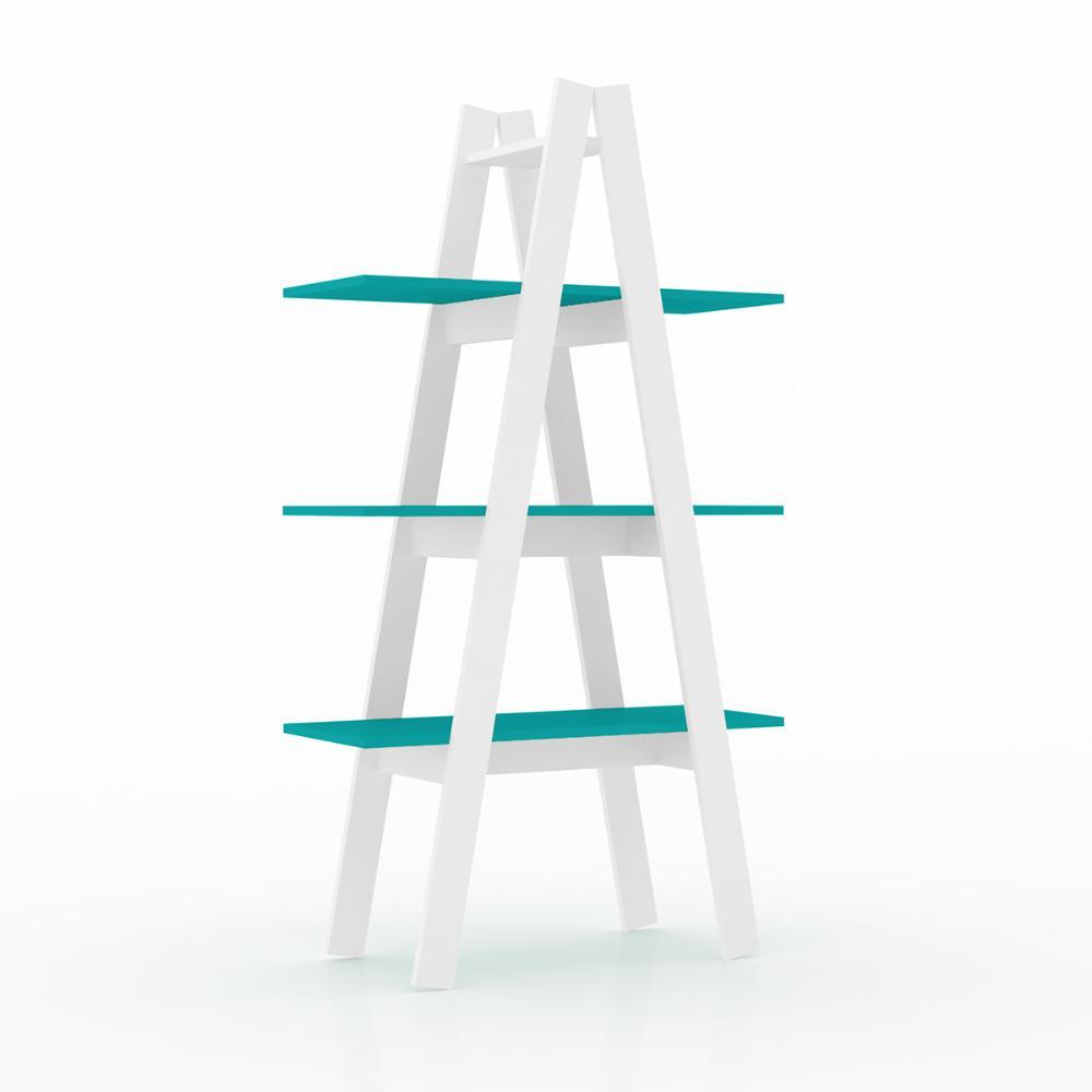 Estante Escada 3 Prateleiras - Branco/Turquesa - Movelbento
