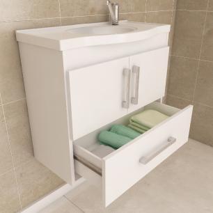 Gabinete De Banheiro 100% Mdf Atenas 65 Cm Com Espelho Amendoa/Off White - Mgm