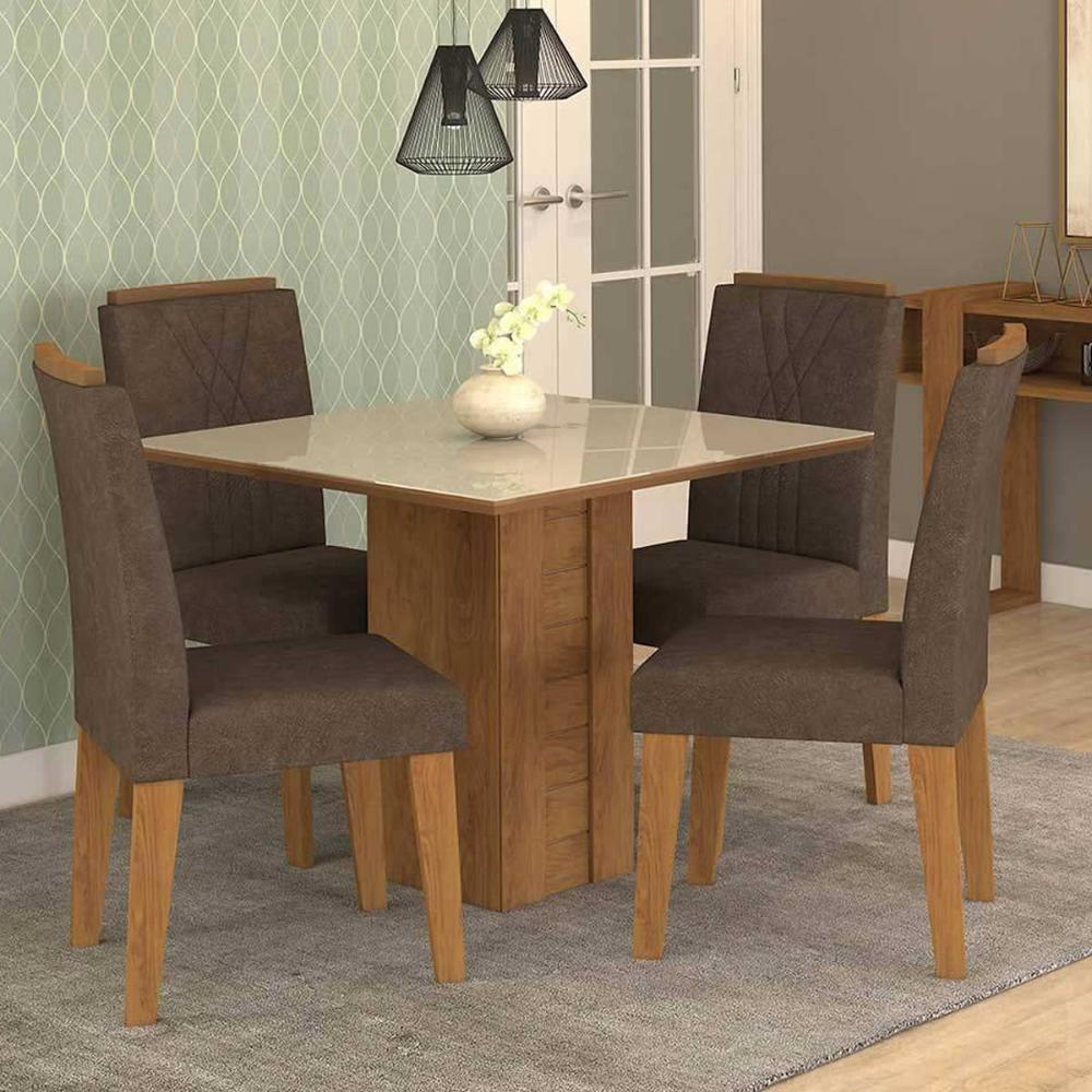 Sala Jantar Rafaela 95cm x 95cm Com 4 Cadeiras Nicole Savana/Off White/Cacau - Cimol