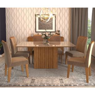 Sala Jantar Ana 180 Cm x 90 Com 6 Cadeiras Nicole Savana/Off White/Pluma - Cimol