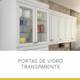 Paneleiro Cristaleira de Cozinha Americana 4 Portas 80 cm - Branco - Nesher