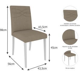 Sala Jantar Helen 130cm x 80cm Com 4 Cadeiras Marina Branco/Caramelo - Cimol - FORA DE LINHA EM 15/05/19