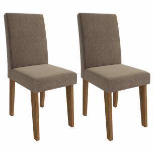Sala Jantar Alana 130 Cm x 80 Cm Com 4 Cadeiras Milena Savana/Off White/Pluma - Cimol