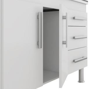 Balcao De Cozinha 100% Mdf Flex 174 Cm Branco/Preto - Mgm