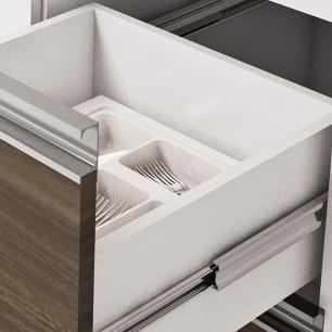 Balcão de cozinha Prisma Para Pia 200 cm - Branco/Castanho - Mgm