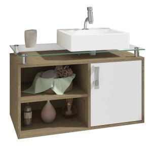 Gabinete De Banheiro 100% Mdf Braga 80 Cm Sobrepor Carvalho/Branco - Mgm