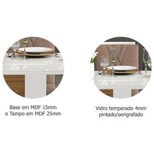 Mesa Rafaela 95cm x 95cm - Branco/Savana - Cimol