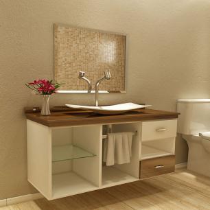 Gabinete Para Banheiro Mizu Com Espelho e Cuba - Branco/Nogal - Premium Gabinetes