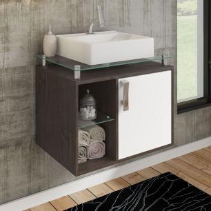 Gabinete De Banheiro 100% Mdf Porto 60 Cm Sobrepor Cafe/Branco - Mgm