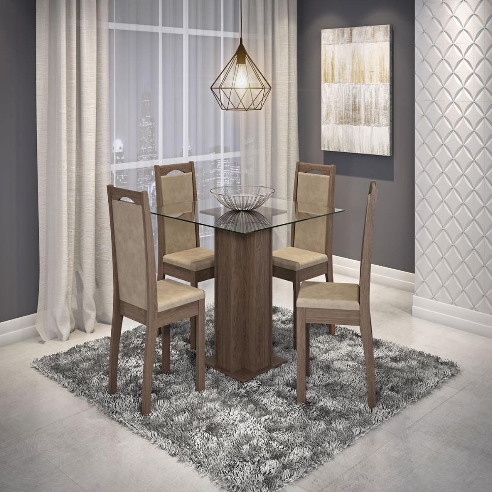 Sala Jantar Sophia 100cm x 100cm Com 4 Cadeiras Livia Marrocos/Sued Marfim - Cimol